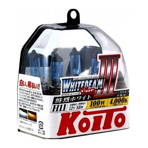 Лампа автомобильная галогенная KOITO Whitebeam III P0750W H11 4000K 12V 55W (100W) 2 шт.