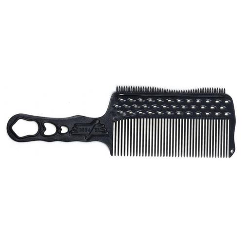 Расчёска Y.S.Park с ручкой, зубцами на обушке и направляющей рельсой карбон для левшей YS-s282LT soft carbon