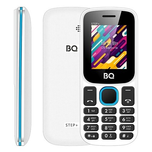 Телефон BQ 1848 Step+, белый / синий сотовый телефон bq 1848 step black