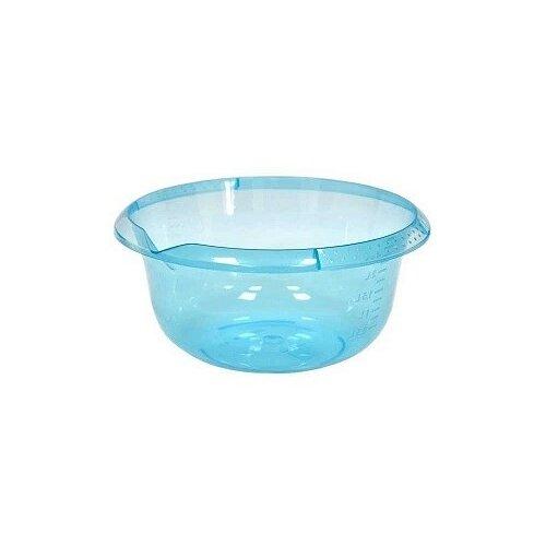 Миска с мерным делением и носиком для слива, 4 литра (голубая прозрачная)