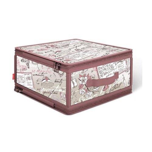цена на Valiant Кофр для хранения с застёжкой-молнией Romantic RM-ZIP-M розовый/белый