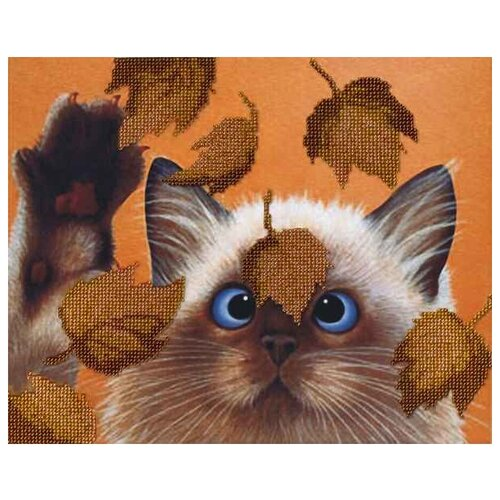 М.П.Студия Набор для вышивания бисером Котик в листьях 22 x 28 см (БГ-182)