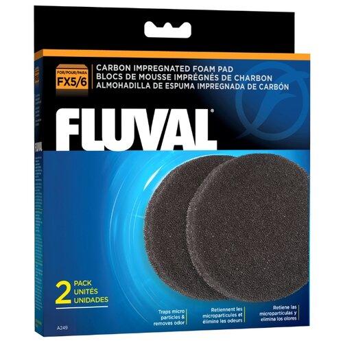 Fluval картридж FX5/6 Carbon Impregnated Foam Pad (комплект: 2 шт.) черный fluval картридж fx5 6 carbon impregnated foam pad комплект 2 шт черный