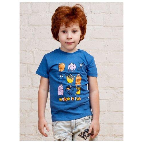 Купить Футболка MOR размер 110-116, голубой/оранжевый, Футболки и майки