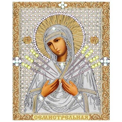 Купить Богородица Семистрельная (рис. на сатене 20х25) (строчный шов) 20х25 Конек 7115, Конёк, Канва