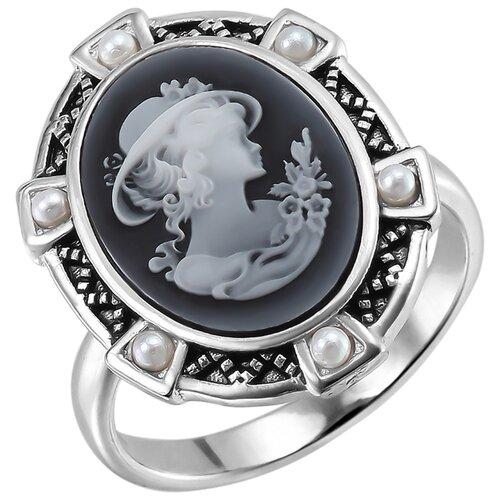 Balex Кольцо 1448930043 из серебра 925 пробы с агатом природным и жемчугом культивированным, размер 17.5