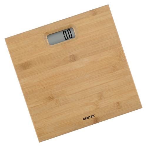 Весы напольные Centek CT-2432 бамбук электронные max 180кг шаг 1г LCD 65x28 размер 28х28см