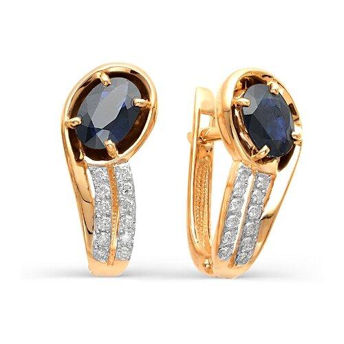 Мастер Бриллиант Золотые серьги с бриллиантом, сапфиром 2-106-198-02