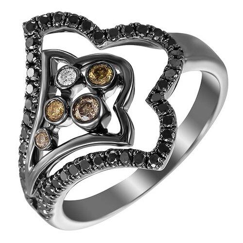 JV Кольцо из черного золота 585 пробы с бриллиантами MR82598-ABD-LDBR-KO-DB-DC-DN-BLK, размер 17.75