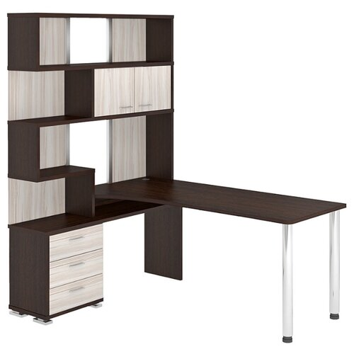 Компьютерный стол угловой Мэрдэс Домино СР-420, 130х170 см, тумба: слева, цвет: венге/карамель/венге террариум в угловой 60л 420 420 410