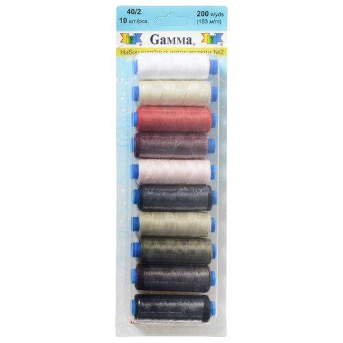 Gamma Набор швейных нитей №02 40/2 200 ярдов 183 м х 10 шт.