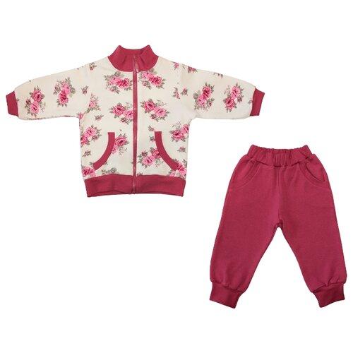 Спортивный костюм Жанэт размер 98, малиновый/белыйСпортивные костюмы<br>