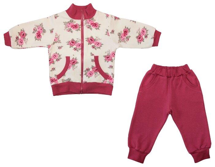 Спортивный костюм Жанэт размер 98, малиновый/белый