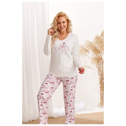 Фото - Женская хлопковая пижама Iga, персиковый, размер XXXL taro мужская хлопковая пижама roman с клетчатым рисунком бордовый xxxl