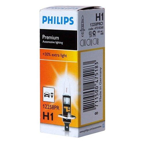 Лампа автомобильная галогенная Philips Vision +30% 12258PR H1 12V 55W 1 шт. лампа галогенная philips h1 vision plus 12v 55w комплект 2шт 12258vps2