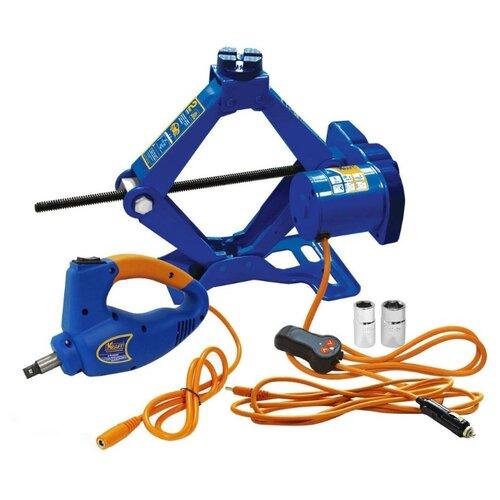 Домкрат винтовой электромеханический KRAFT КТ 850001 с гайковертом (2 т) синий