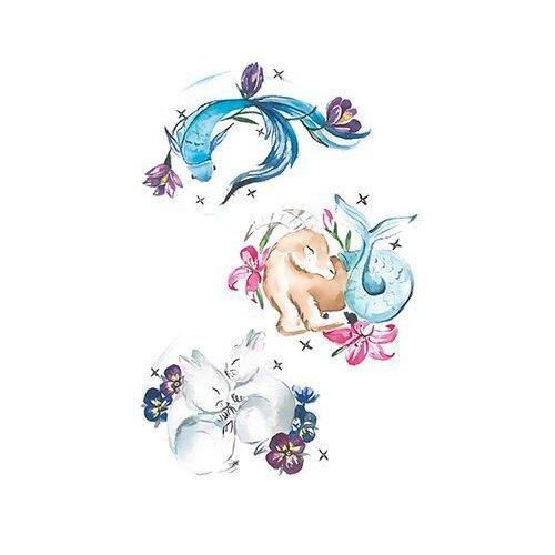 Polysfera Tattoo Авторская татуировка Tattoo PS&KG 007 белый/голубой