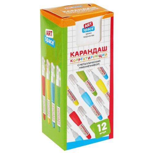 ArtSpace Ручка-корректор 4 мл, 12 шт голубой/желтый/зеленый/красный ручка корректор brauberg 13 мл