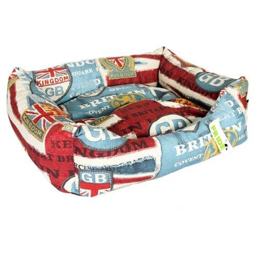 Лежак для собак и кошек PRIDE Британия 52х41х10 см красный/белый/голубой