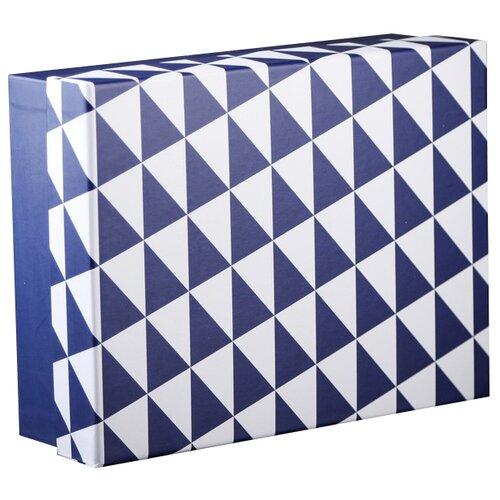 Коробка подарочная Yiwu Zhousima Crafts Геометрия 27.5 х 8.5 х 21 см синий/белый
