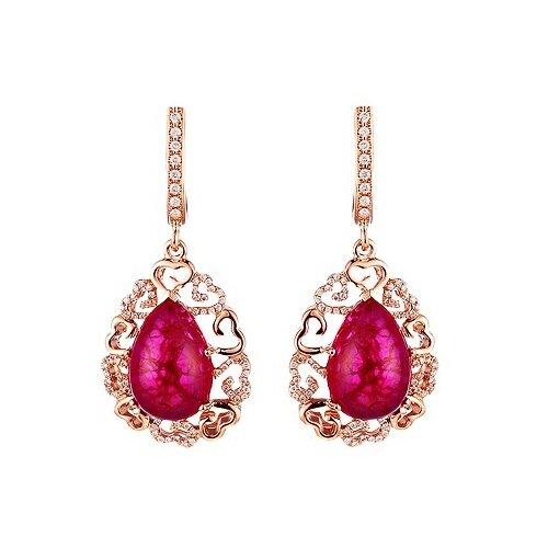 JV Серьги из розового золота 585 пробы с рубинами синтетическими и бриллиантами E01482AR4RK-SR-RV-PINK