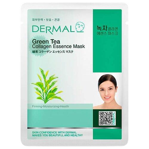 DERMAL Green Tea Collagen Essence Mask Тканевая маска с коллагеном и экстрактом зелёного чая, 23 г dermal тканевая маска bamboo collagen essence mask с коллагеном и экстрактом бамбука 23 г