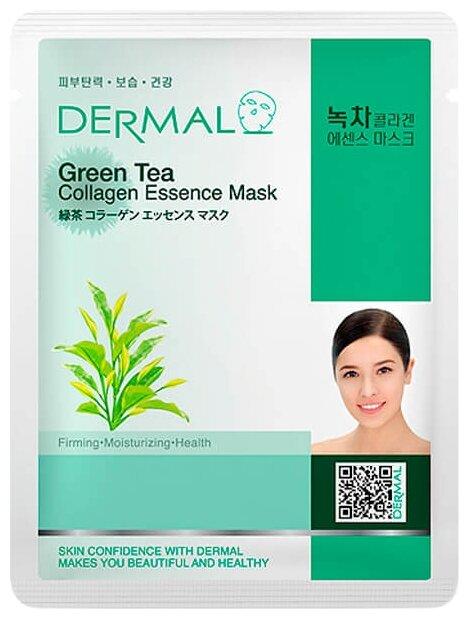 DERMAL Green Tea Collagen Essence Mask Тканевая маска с коллагеном и экстрактом зелёного чая
