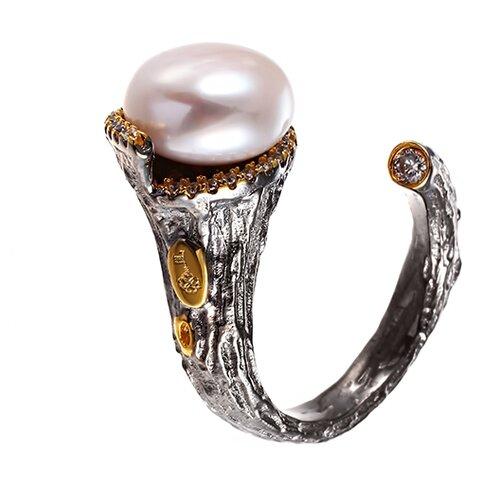 ELEMENT47 Кольцо из серебра 925 пробы с кубическим цирконием и культивированным жемчугом R00206_KO_WP_001_BJ, размер 17.5