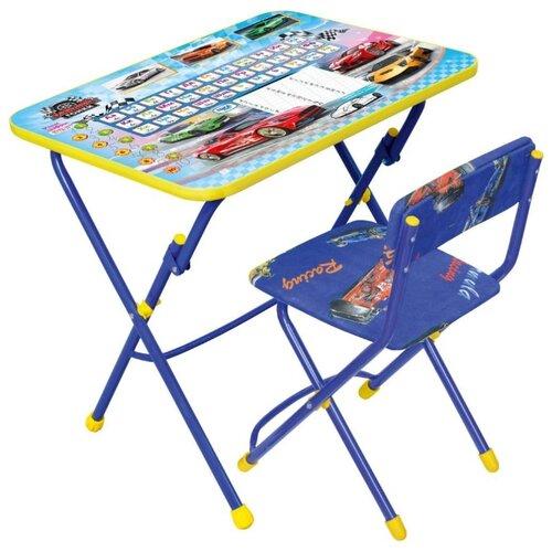 Купить Комплект Nika стол + стул Большие гонки (КУ1/15) 60x45 см синий/желтый, Парты и столы