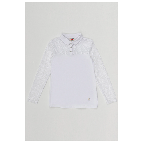 Купить Блузка Button Blue размер 122, белый, Рубашки и блузы