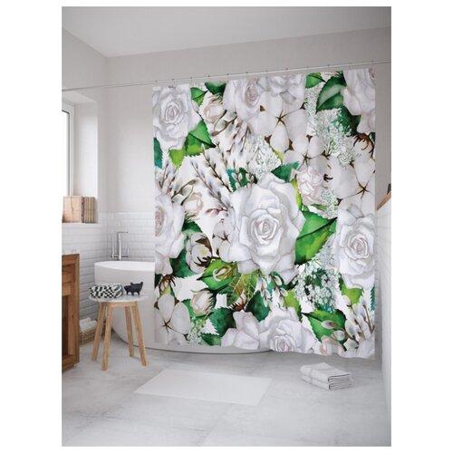 Штора для ванной JoyArty Светлая цветочная композиция 180х200 (sc-14765) t8l композиция 1 h86 fsj fsjстек 3 ящика шатура ровена светлая