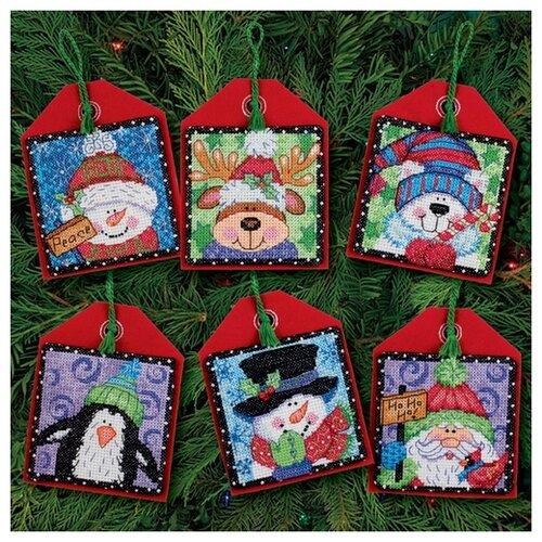 Купить Набор для вышивания: Набор елочных игрушек, Новогодние друзья Dimensions DMS-70-08842, Наборы для вышивания