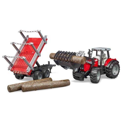 Купить Трактор Bruder Massey Ferguson c манипулятором и прицепом (02-046) 1:16 красный/серый, Машинки и техника