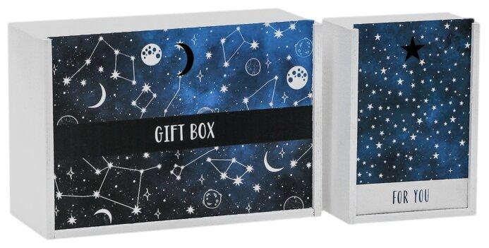 Купить Набор подарочных коробок Дарите счастье Космос, 2 шт. белый/синий по низкой цене с доставкой из Яндекс.Маркета (бывший Беру)
