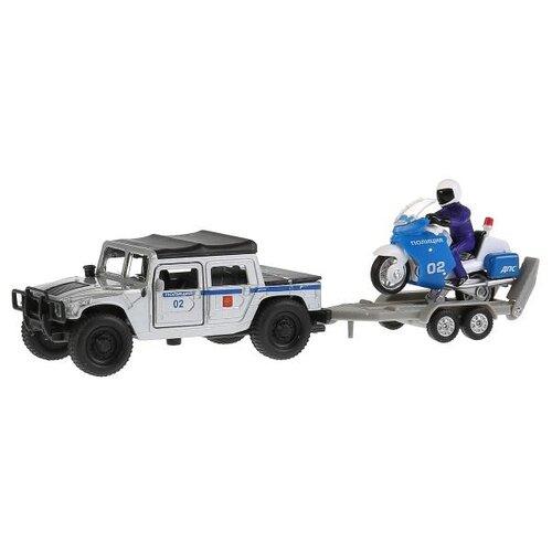 цена на Набор техники ТЕХНОПАРК Hummer H1 Полиция + мотоцикл на прицепе (SB-18-37WB) белый/синий