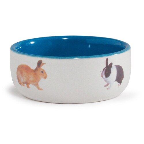 Миска Beeztees 801650 для кроликов, 300 мл белый/синий миска beeztees стальная с креплением для собак 300 мл