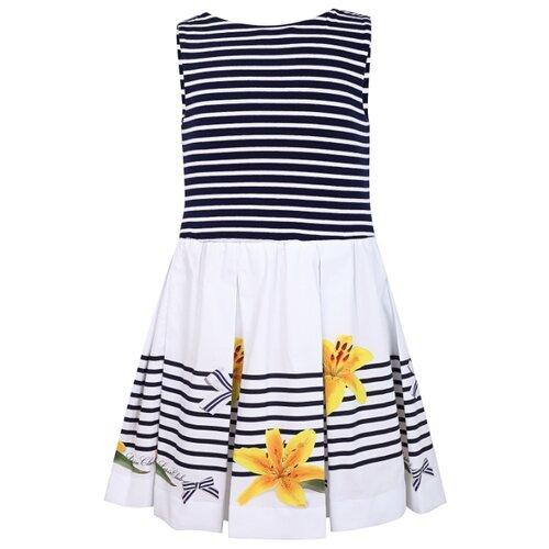 Платье Lapin House размер 104, полоска/белый/синий