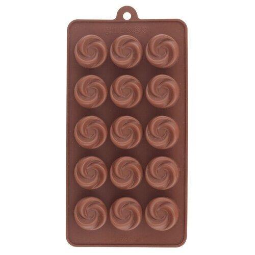 Форма для льда Мультидом Розочки, 15 ячеек коричневый