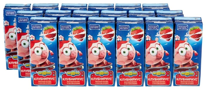 Молочный коктейль Danone Смешарики Клубника 2.5%, 210 г, 18 шт.