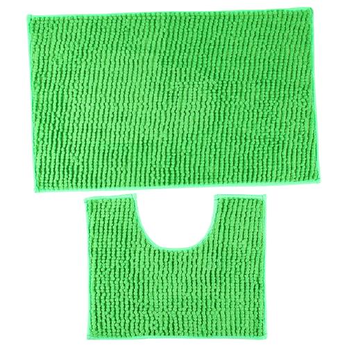 Комплект ковриков Доляна Букли 40х50, 50х80 см зеленый