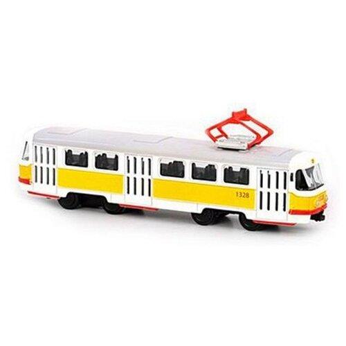 Купить Трамвай Play Smart Tatra T3SU (6411B) 1:87 17 см белый/желтый, Машинки и техника