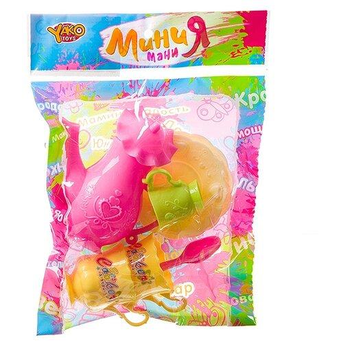 Купить Набор посуды Yako Мини мания Д93782 желтый/зеленый/розовый, Игрушечная еда и посуда
