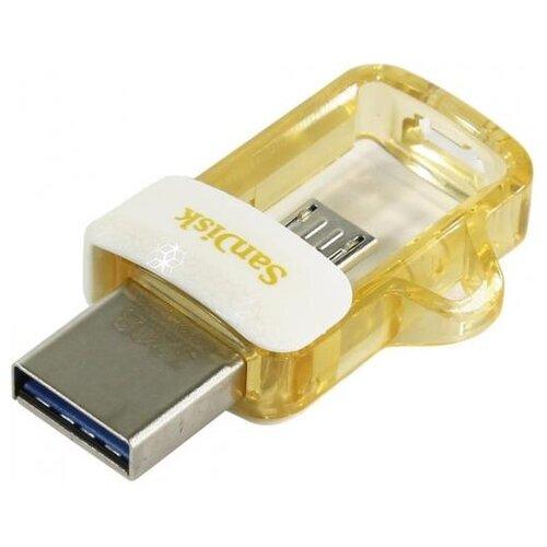 Купить Флешка SanDisk Ultra Dual Drive m3.0 64GB белый/золотистый