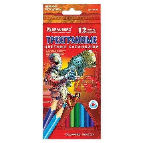 Купить BRAUBERG Карандаши цветные Star Patrol 12 цветов (180595), Цветные карандаши