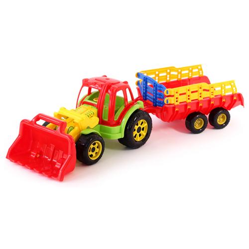Трактор Poltoys Turbo с прицепом и ковшом (PL1043) 72 см