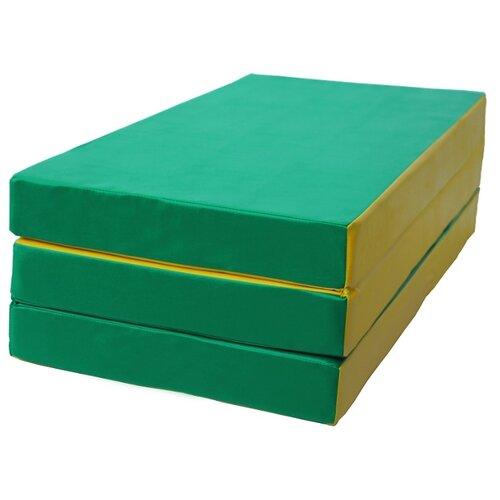 Спортивный мат 1500х1000х100 мм КМС № 4 зелёно/жёлтый