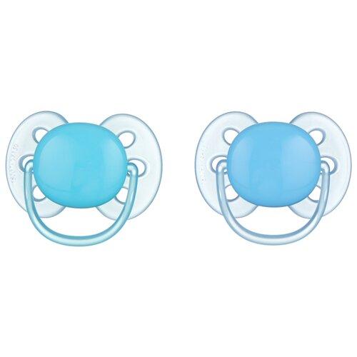 Пустышка силиконовая ортодонтическая Philips AVENT Ultra Soft SCF212/20 0-6 м (2 шт.) голубой/бирюзовый
