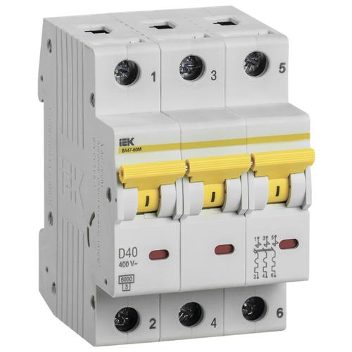 Автоматический выключатель IEK ВА 47-60 3P (D) 6kA 40 А