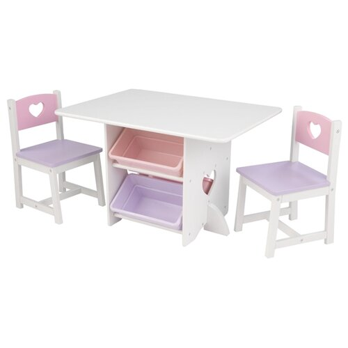 Комплект KidKraft стол + 2 стула + 4 ящика Heart (26913_KE) 77x50 см серый/розовый игровой стол kidkraft малыш 17508 ke