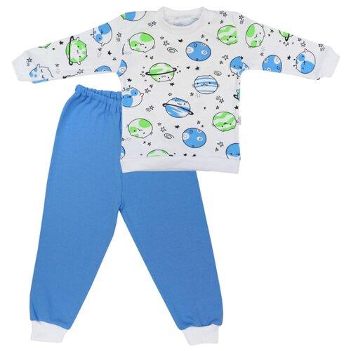 Пижама Папитто размер 98, белый/голубой